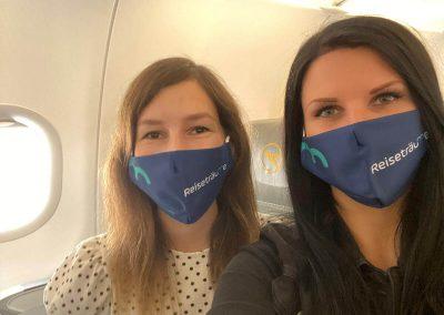 Maske im Flugzeug - kein Problem